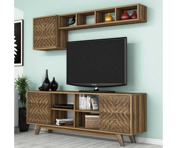 Set comoda TV si corp cu rafturi Inci Walnut